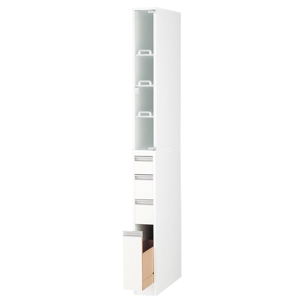 上品な清潔感のあるアクリル扉のキッチンすき間収納 幅15cm・奥行55cm