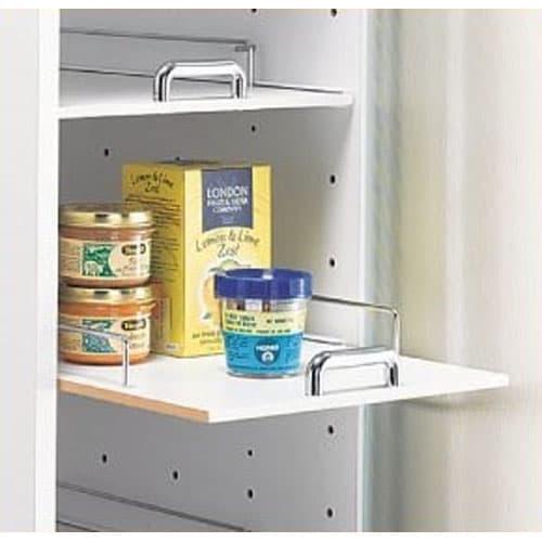 上品な清潔感のあるアクリル扉のキッチンすき間収納 幅15cm・奥行55cm 奥のものも取り出しやすい スライド棚を採用。ストッパー付きです。