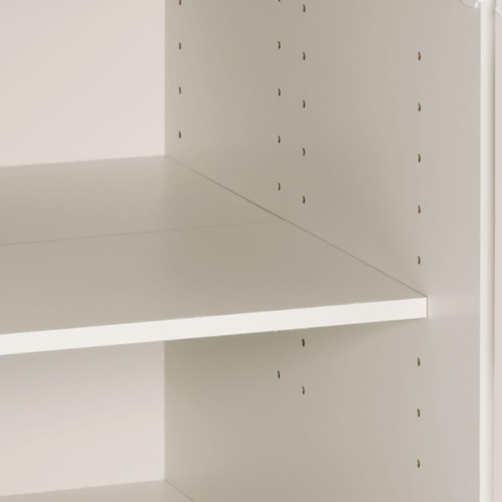 組立不要 ステンレス天板隙間収納 段違い棚扉タイプ 幅25cm・奥行55cm 奥の棚と手前の棚をフラットに設定することも可能。 棚板は可動できます。