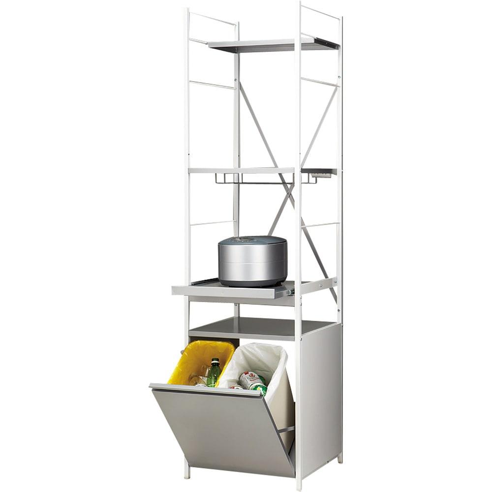大型レンジ対応レンジラック ペール2分別ゴミ箱付き キッチン家電をまとめて収納できる頑丈な作りが特徴です。ゴミ箱付きで便利な人気商品です。最上段のハーフ棚板は、前にずらしても外してもOK。