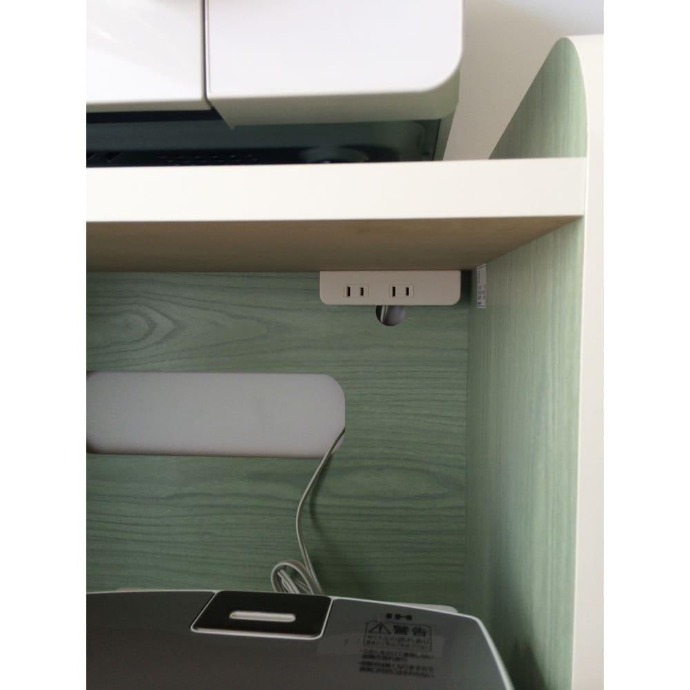キッチン収納ミニ食器棚シリーズ レンジ台小(高さ90.5cm) 2口コンセント付きで調理家電の収納に便利です。