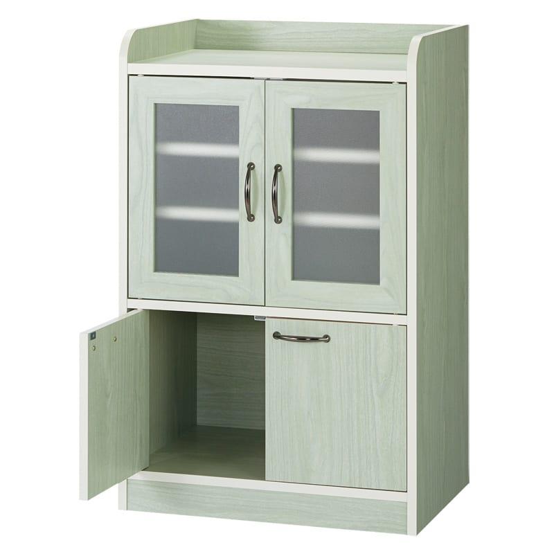 キッチン収納ミニ食器棚シリーズ キャビネット小(高さ90.5cm) (ア)グリーン系