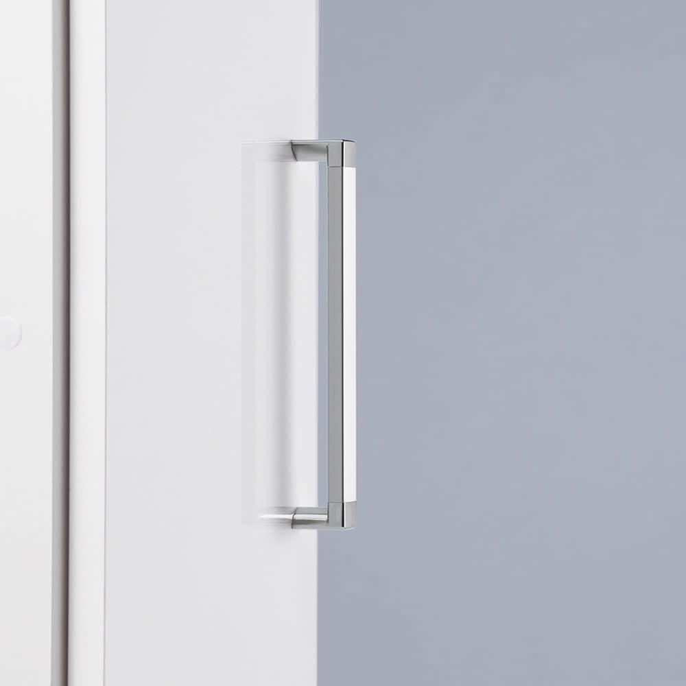 《幅59cm》ゴミ箱上を有効活用!下段オープンたっぷり収納庫 持ちやすいアルミ製の取っ手で、開閉がラク。