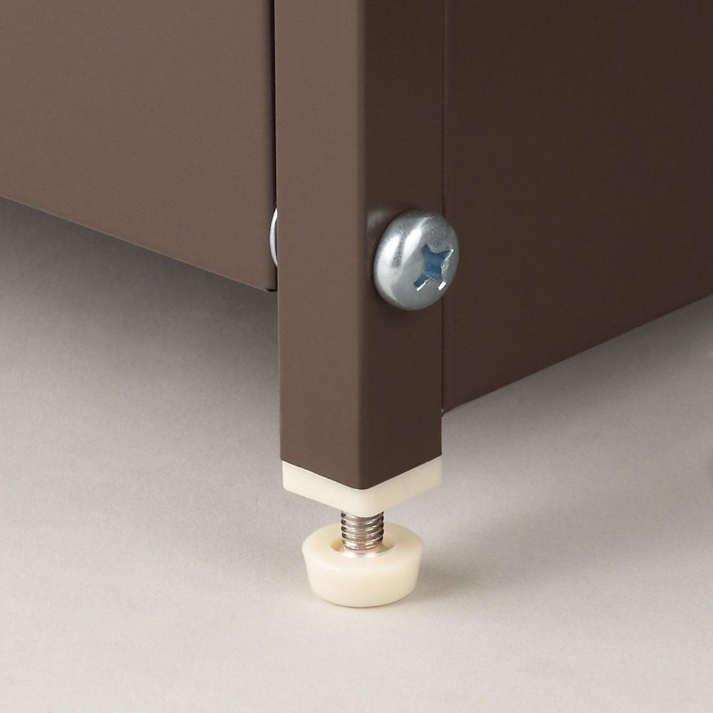 ステンレス天板ダストボックス 横型2分別 ごみ箱の脚部には約1cm調節できるアジャスター付き。