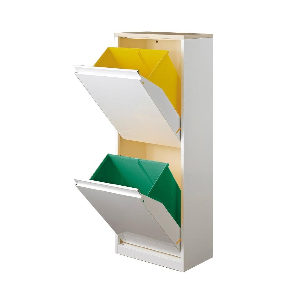 カラフルなペールでわかりやすく分別できる スチール製ダストボックス 幅42cm 高さ115cm (ア)ホワイト ペール大2個