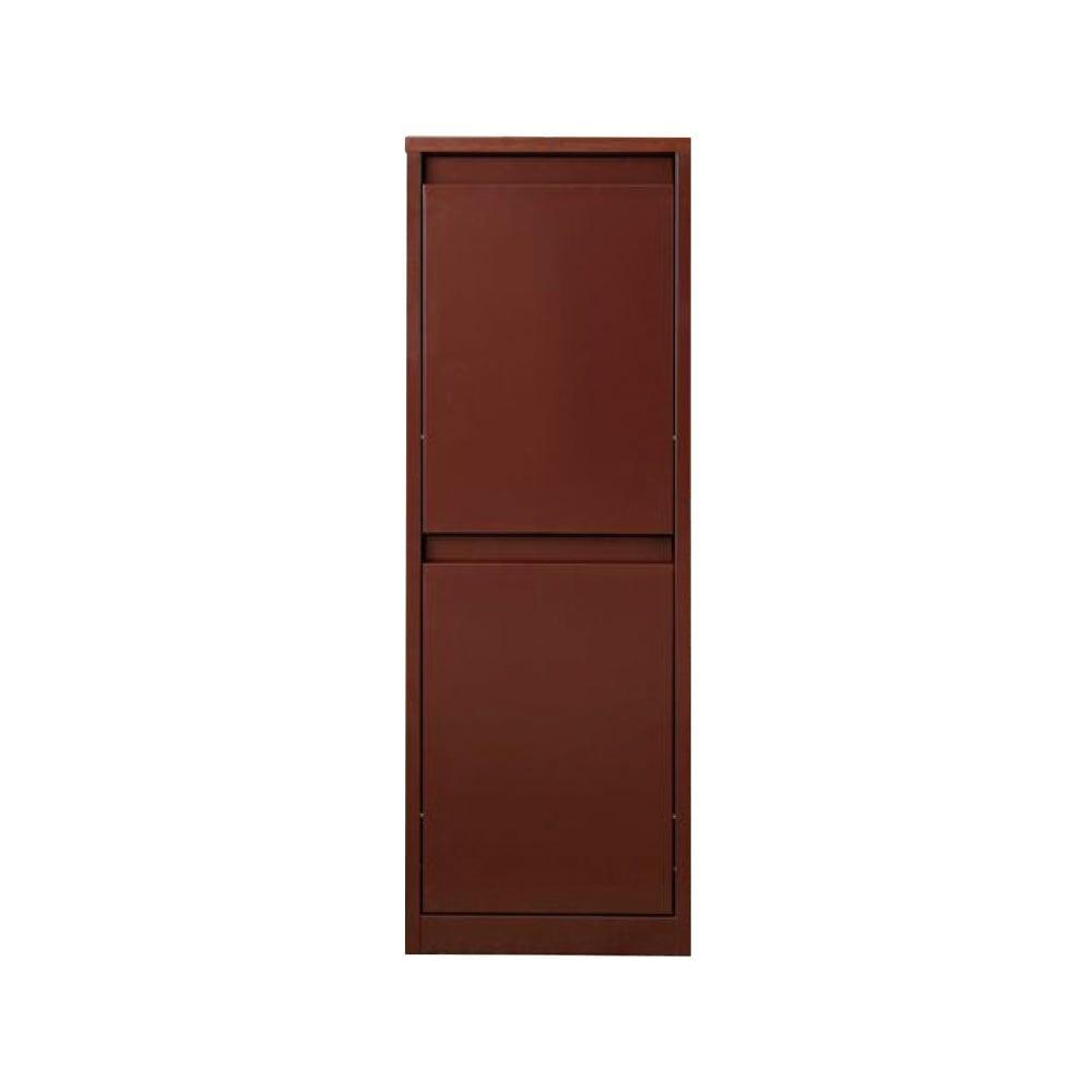 カラフルなペールでわかりやすく分別できる スチール製ダストボックス 幅42cm 高さ115cm (イ)ブラウン