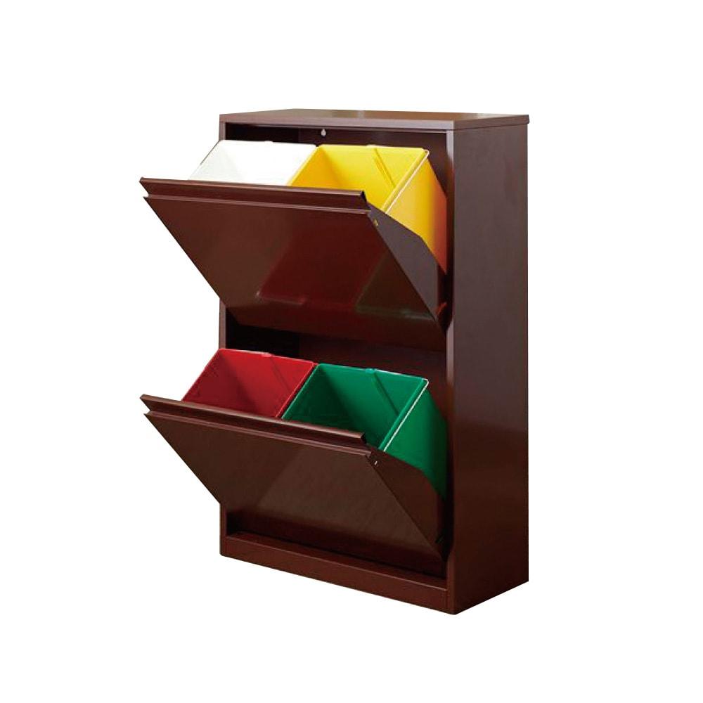 カラフルなペールでわかりやすく分別できる スチール製ダストボックス 幅60cm 高さ95cm (イ)ブラウン ペール小4個