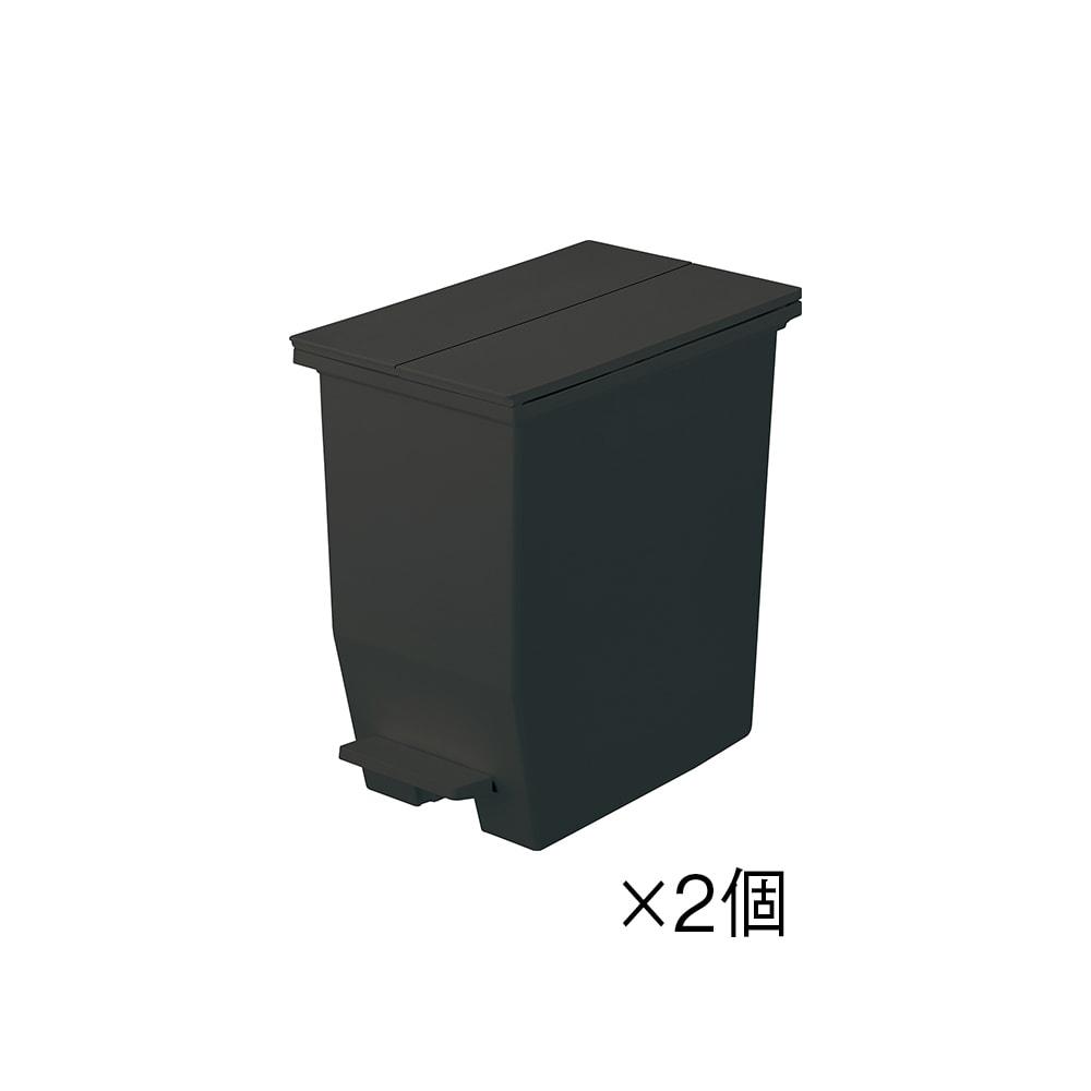 【20リットル×2個組】抗菌加工あり 棚下に置けるペダル式ダストボックス (イ)ブラック ※お届けは2個組みです。