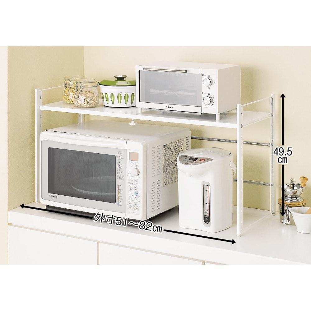 頑丈!カウンター上省スペース 脚部幅1cmキッチン収納ラック 棚1段タイプ 電子レンジの上の収納アイデアにぴったりです。 (ア)ホワイト