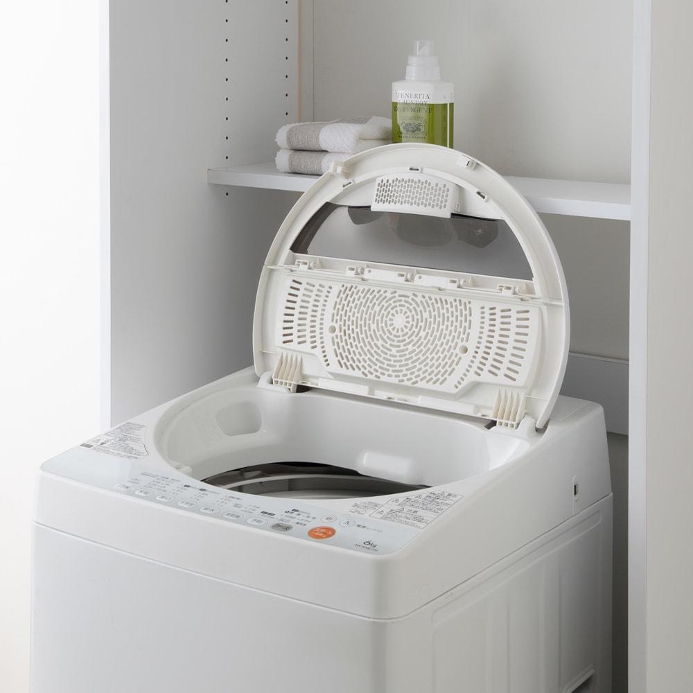 洗濯機が入るスライドバー付きシステムランドリー収納庫 洗濯機ラック 幅80cm ハーフ棚は高さ調節もできるので、洗濯機の蓋が全開しやすい位置に設定できます。