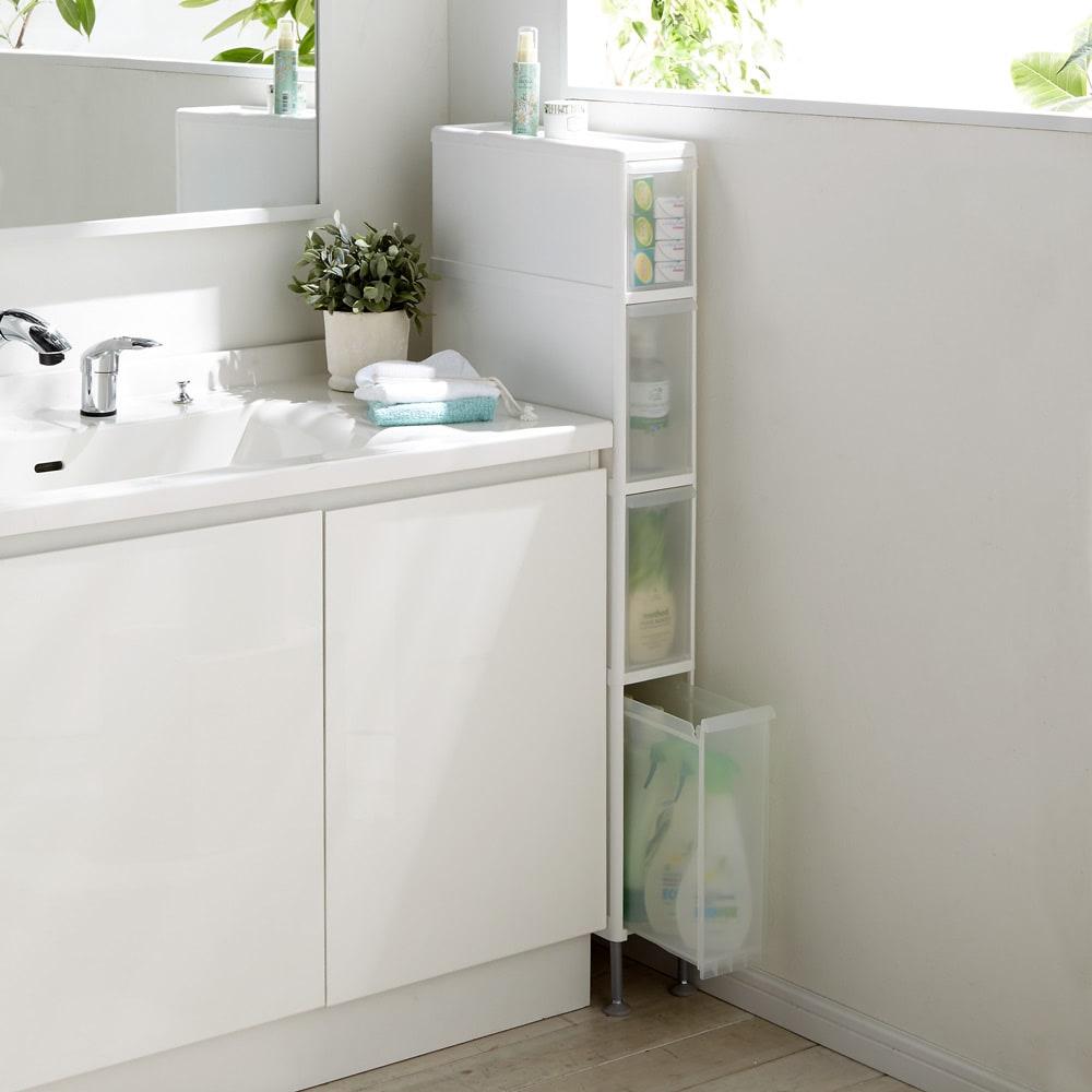 家具 収納 トイレ収納 洗面所収納 段差がまたげる隙間収納 アジャスター付きストッカー ミドル浅1中3深1 幅17高さ126.5cm 589921