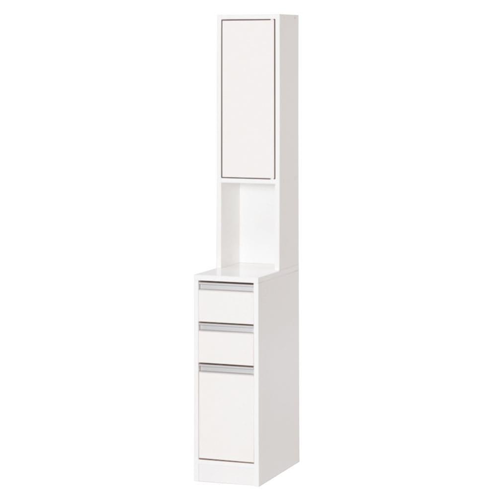 家具 収納 トイレ収納 洗面所収納 天板が使える 光沢仕上げ扉付きすき間収納庫 ハイタイプ・幅25cm 590003