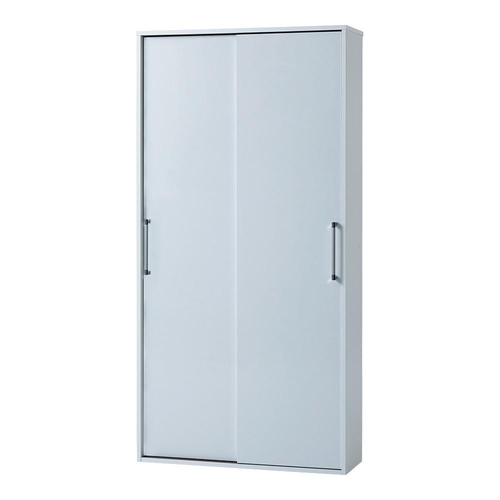 すっきり隠せる薄型引き戸収納庫 幅90cm (ア)ホワイト ※お届けは【幅90cm】タイプです。