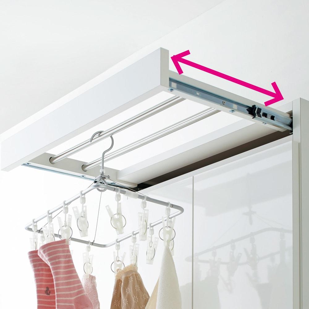 家事がしやすい サポート引き出しサニタリーチェスト ハイタイプ 幅40.5cm 出し入れ自在のタオルハンガーは、使わない時はスッキリと収納できます。