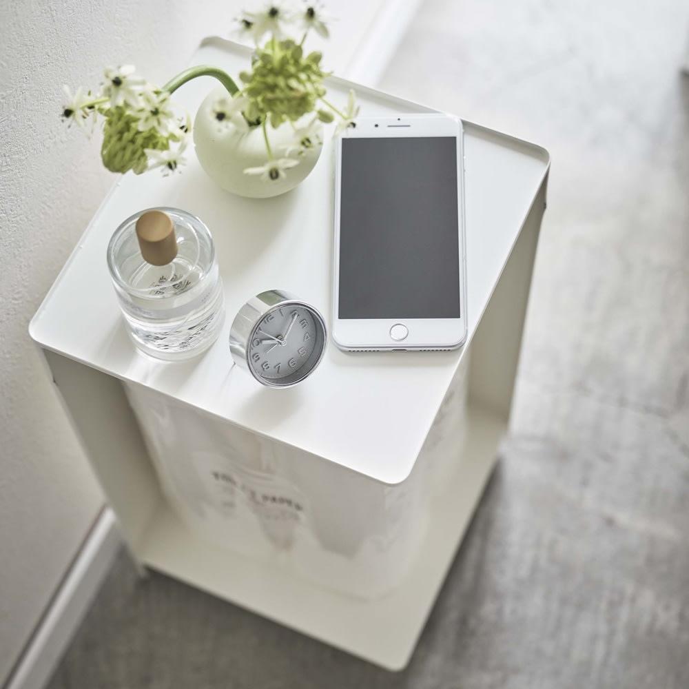 タワー/Tower 袋ごとトイレットペーパーストッカー 天板上には小物やインテリア、スマホ置きに便利です。
