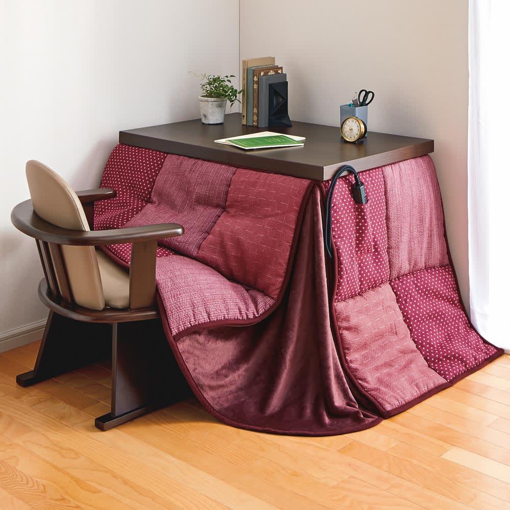 【長方形・小】幅90奥行60cm ダイニングこたつテーブル【高さ調節できます】 テーブル高さ65cm コンパクトなデスクサイズで壁際をパーソナル空間に。