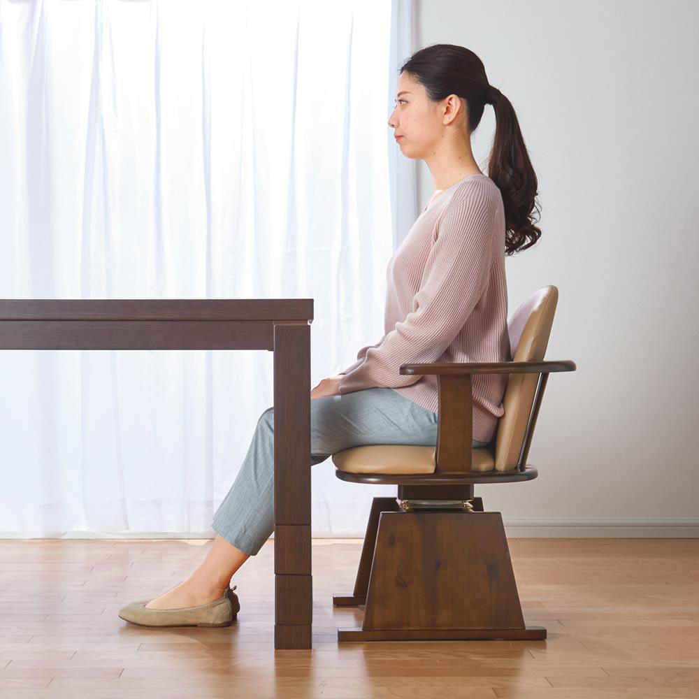 【長方形・小】幅90奥行60cm ダイニングこたつテーブル【高さ調節できます】 高さ70cm時。ダイニングスタイルでこたつライフを実現。