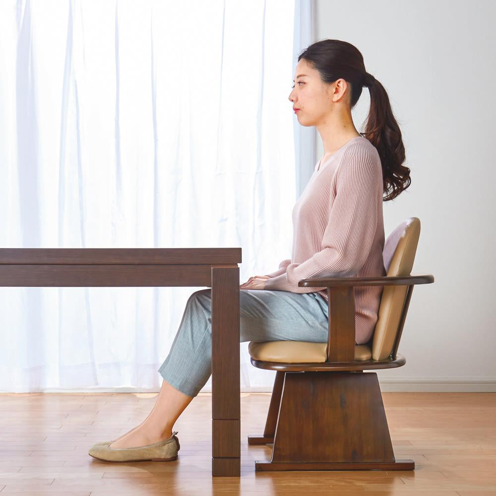 【長方形・小】幅90奥行60cm ダイニングこたつテーブル【高さ調節できます】 高さ60cm時。生活スタイルに合わせて高さを選べます。