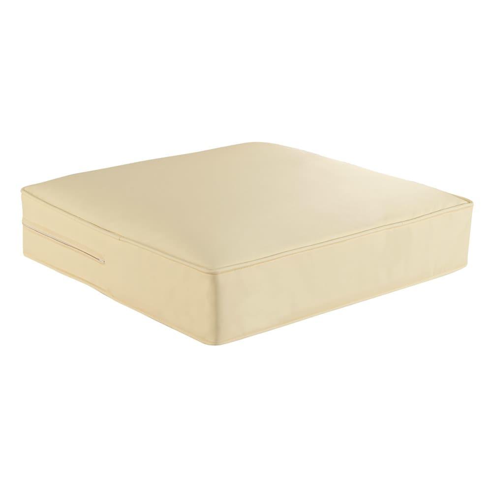 合皮シンプルモダン座布団 丸型・同色2枚組 色見本(イ)アイボリー ※お届けは丸型です。