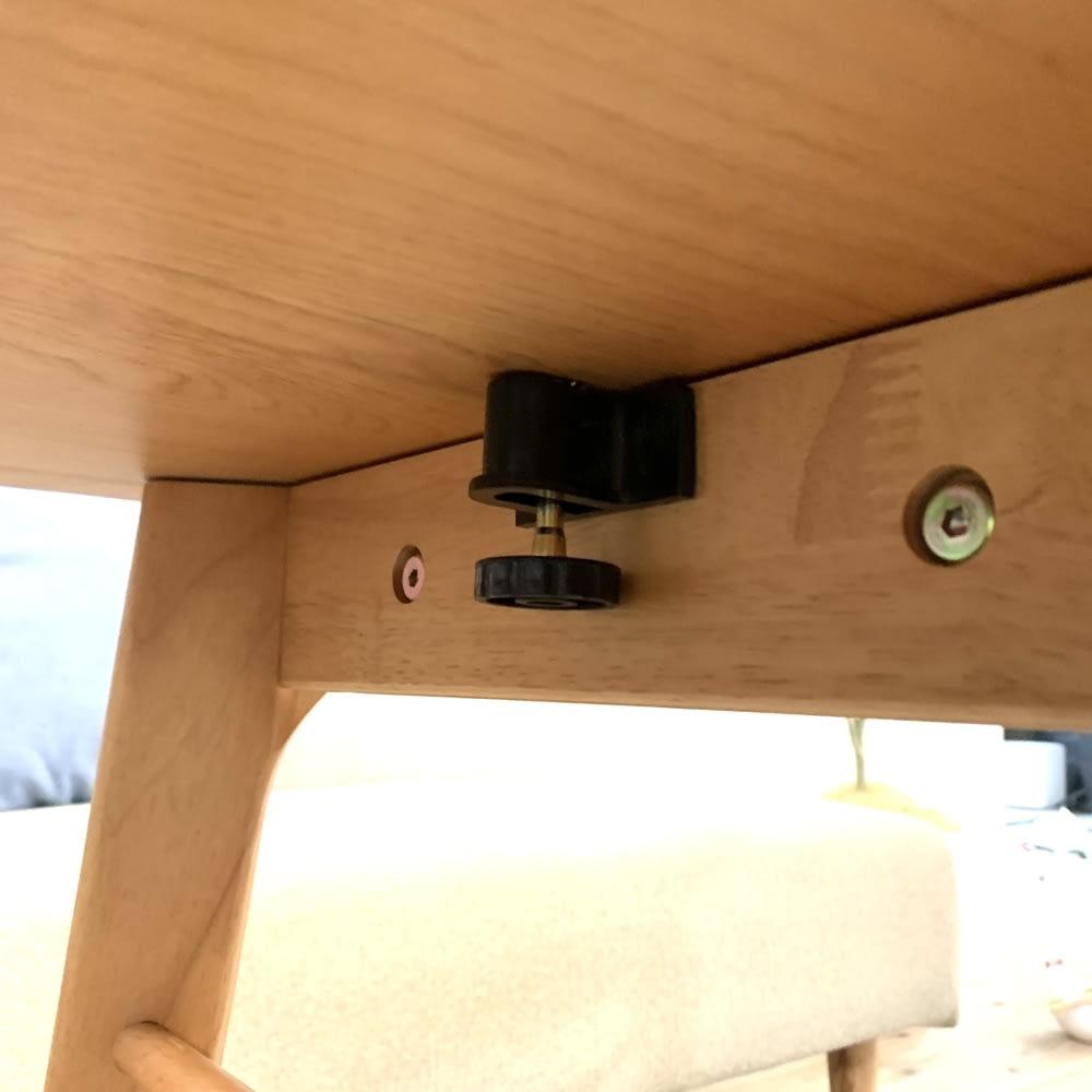 天然木伸長式センターテーブル 高さ60cm 天体下にはストッパー付き