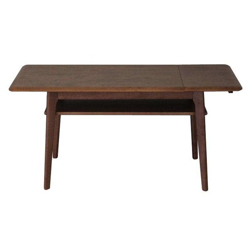 天然木伸長式センターテーブル 高さ60cm (イ)ブラウン