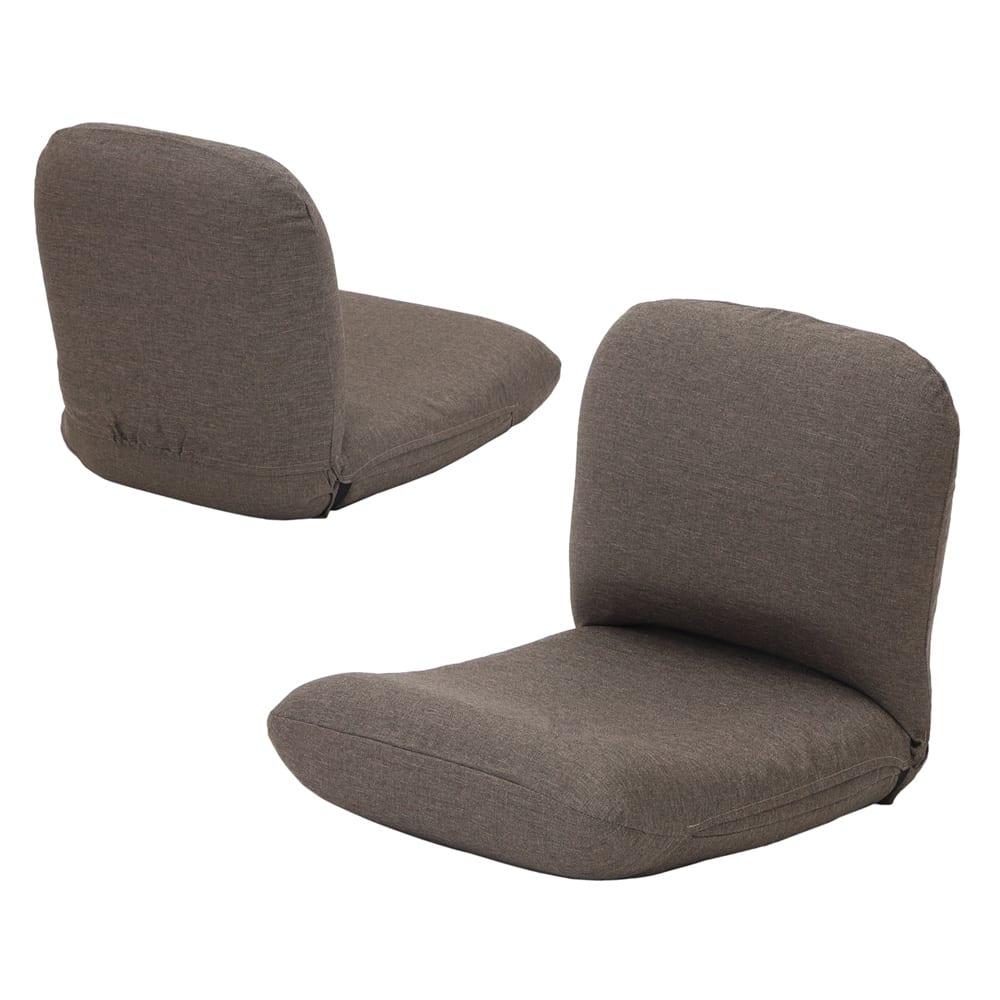 日本製洗えるカバー付き背中を支えるコンパクト美姿勢座椅子 (イ)ブラウン 背面もきれいな共生地仕上げ。