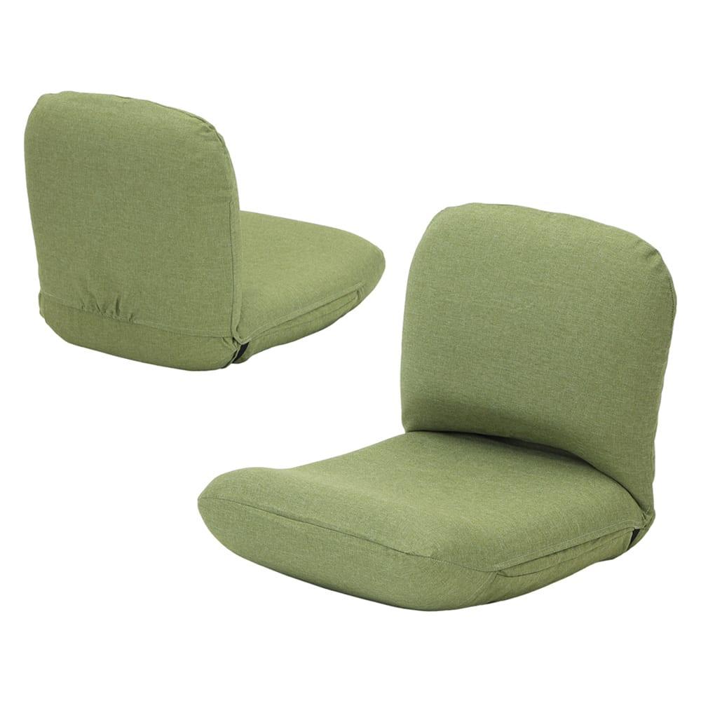 日本製洗えるカバー付き背中を支えるコンパクト美姿勢座椅子 (ウ)グリーン 背面もきれいな共生地仕上げ。