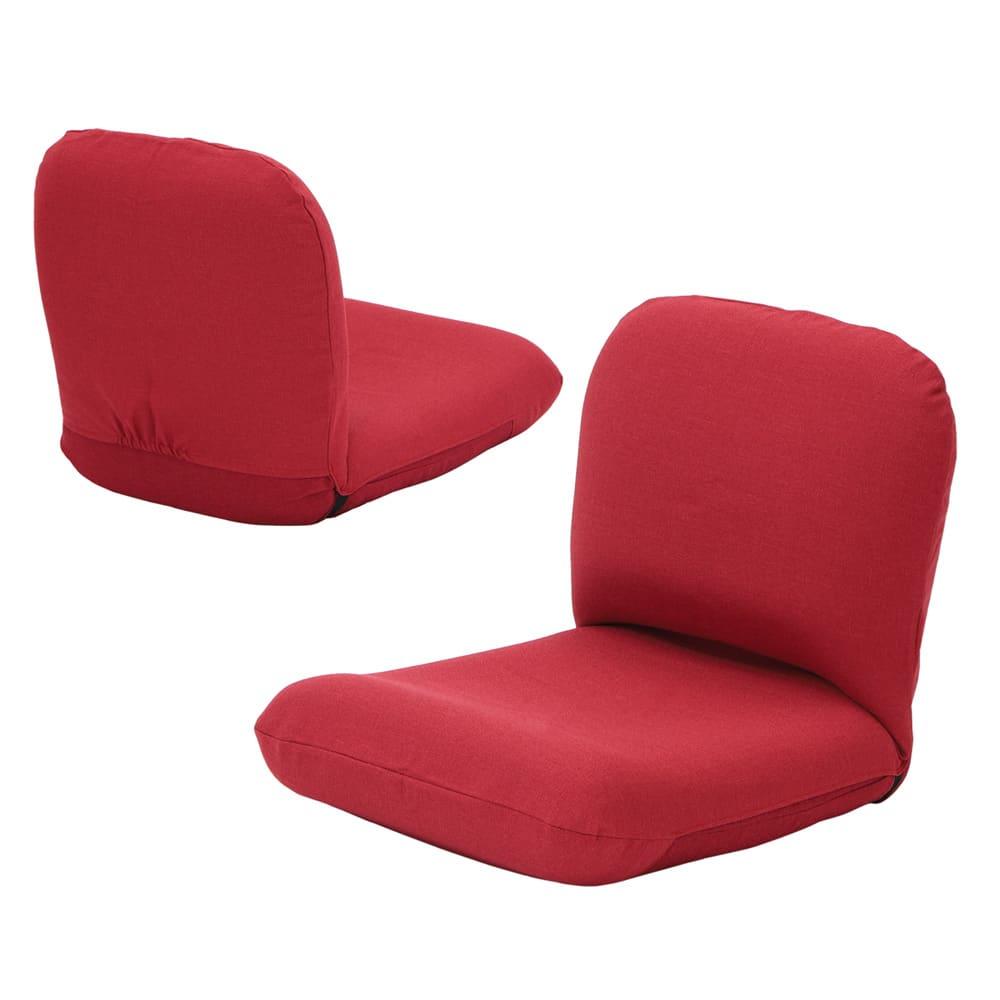 日本製洗えるカバー付き背中を支えるコンパクト美姿勢座椅子 (オ)レッド 背面もきれいな共生地仕上げ。