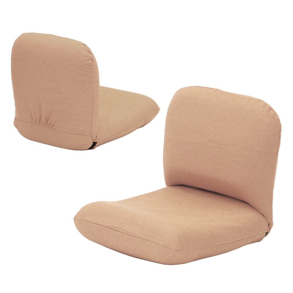 日本製洗えるカバー付き背中を支えるコンパクト美姿勢座椅子 (ア)ベージュ 背面もきれいな共生地仕上げ。