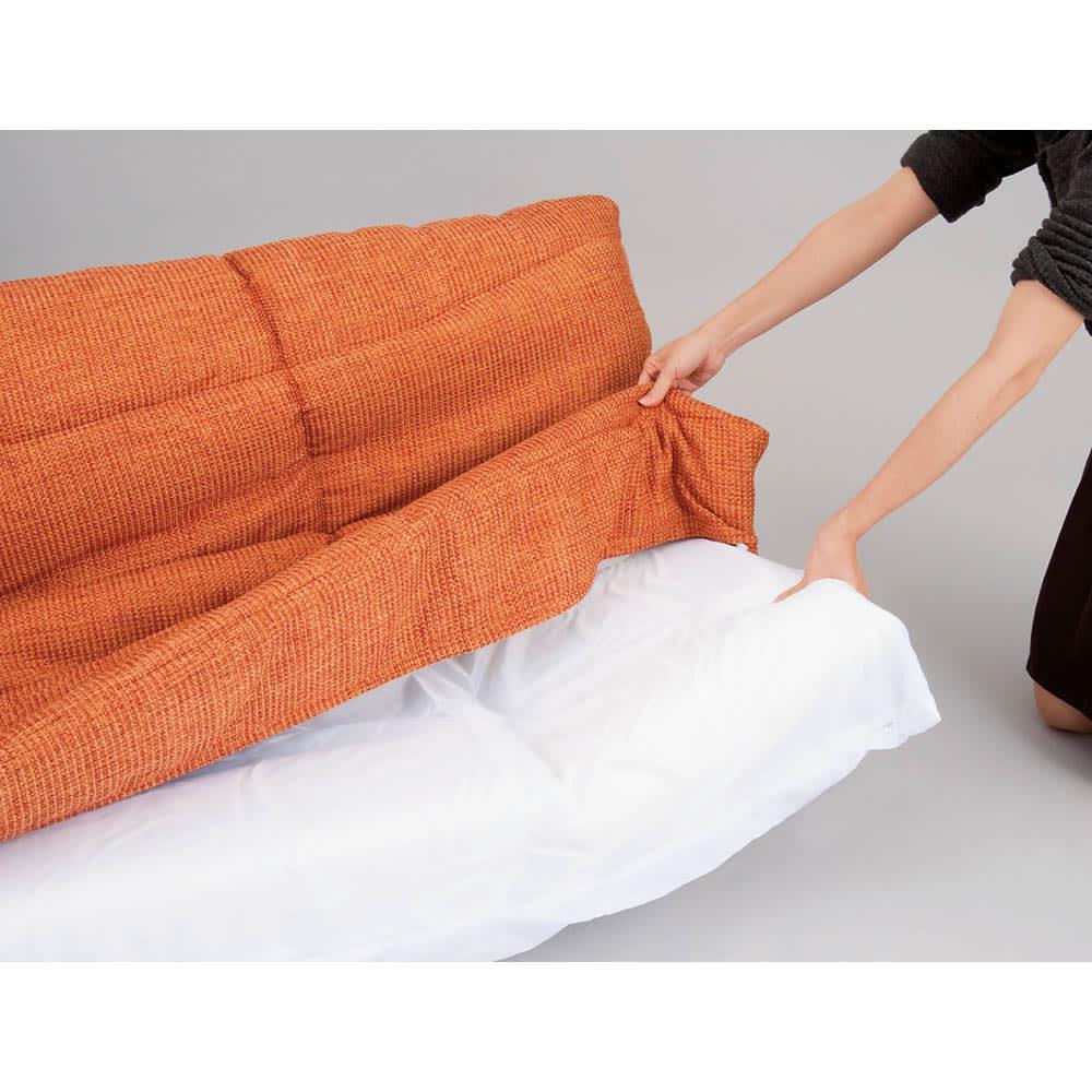 国産・高機能!洗えるカバーリング 低反発マルチリクライニングハイバックソファ ~POINT~カバーは取り外し可能。ドライクリーニングできます。