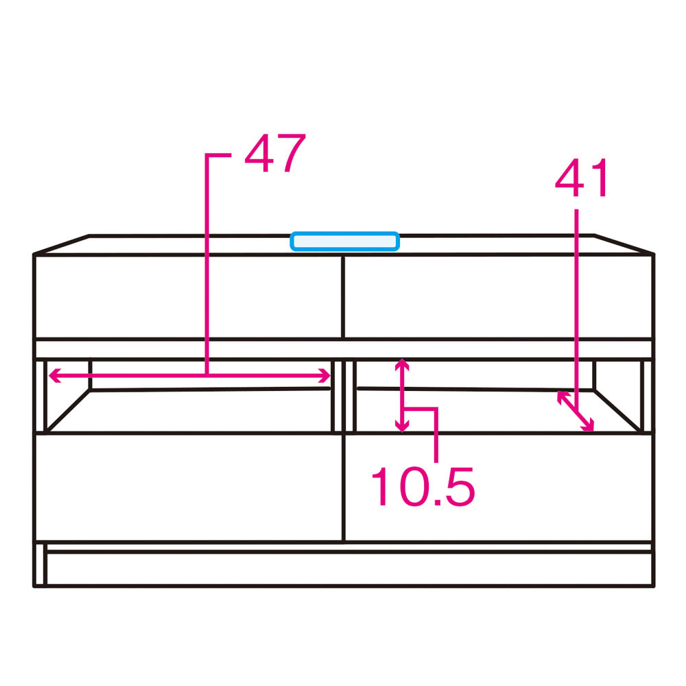 天然木調テレビ台シリーズ ハイタイプテレビ台 幅100.5高さ60cm 内寸図 ※赤文字は内寸(単位:cm)※青色部分はコード穴