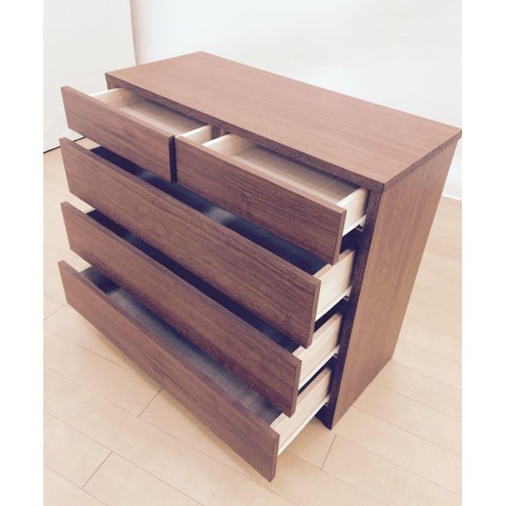【完成品・国産家具】ベッドルームで大画面シアターシリーズ チェスト 幅80高さ70cm 最上部の引出にはA4用紙が入ります。