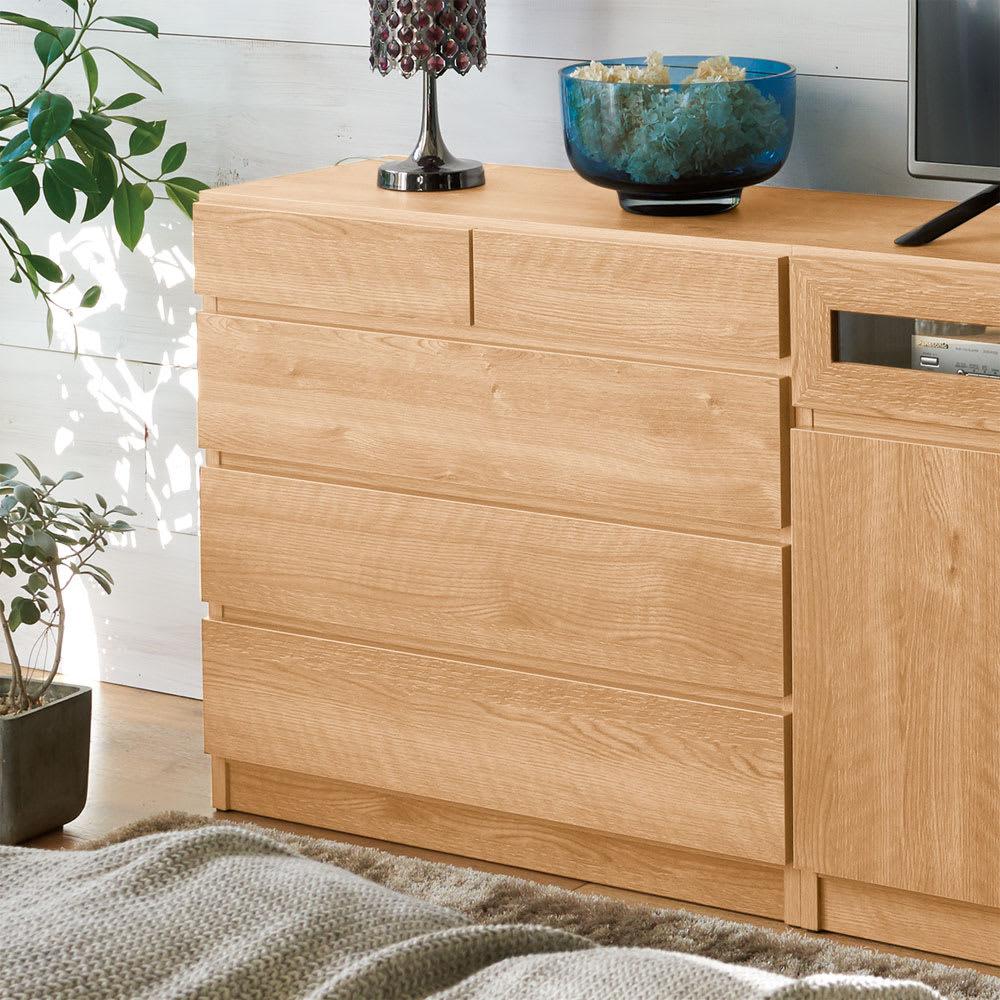 【完成品・国産家具】ベッドルームで大画面シアターシリーズ チェスト 幅80高さ70cm (エ)ブラウン