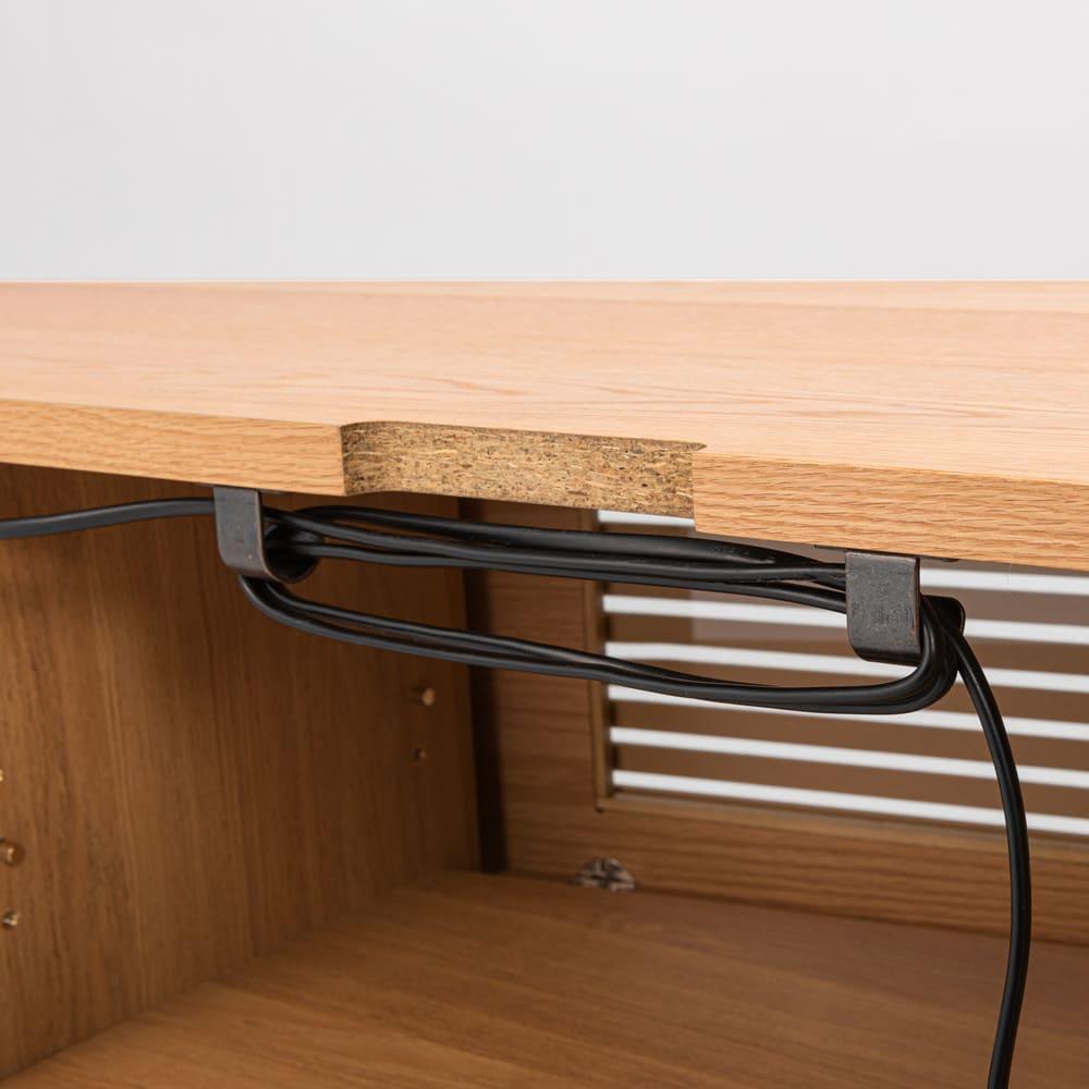 大型テレビが見やすい天然木格子コーナーテレビ台 幅135cm 右コーナー(右壁付)用 コードを巻きつける金具付きで背面すっきり。