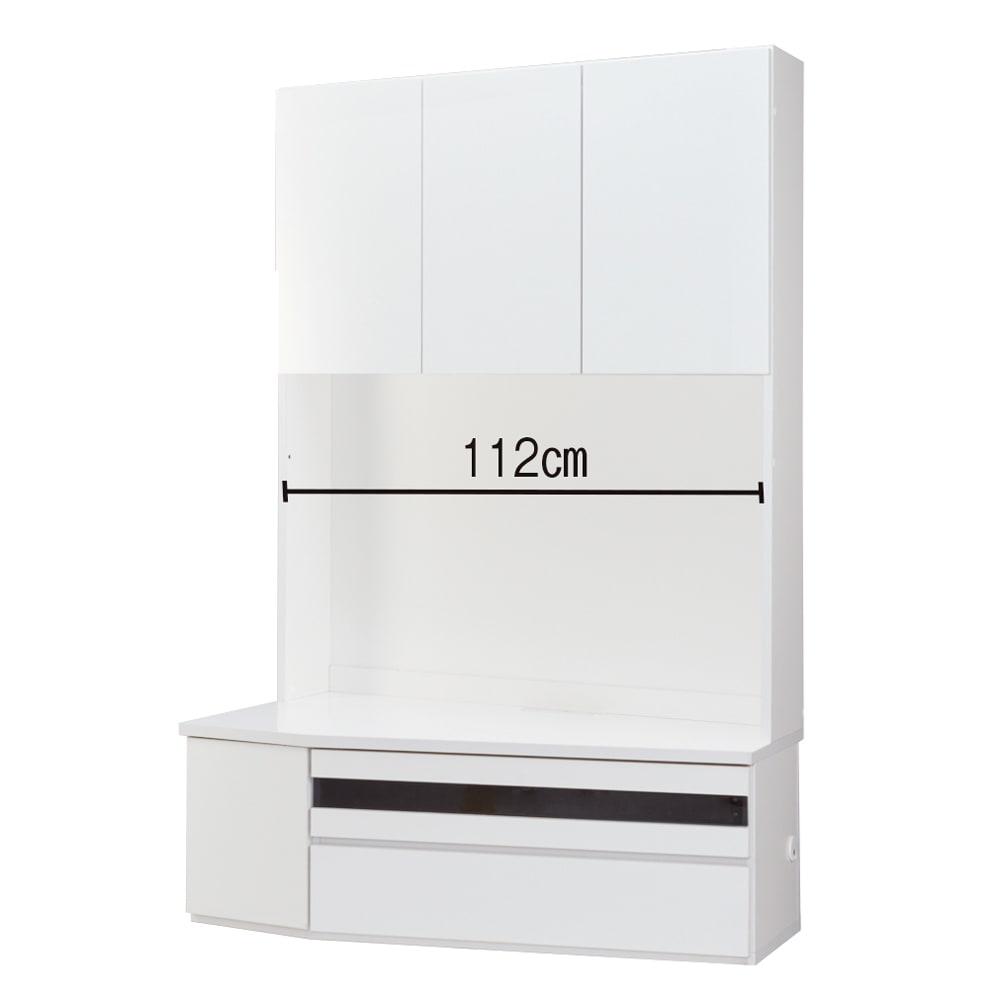 コーナーテレビ台壁面収納シリーズ 幅117cm TV台左壁設置用 (ア)ホワイト デッキ収納部幅83奥行29.5cm(下段は扉収納)