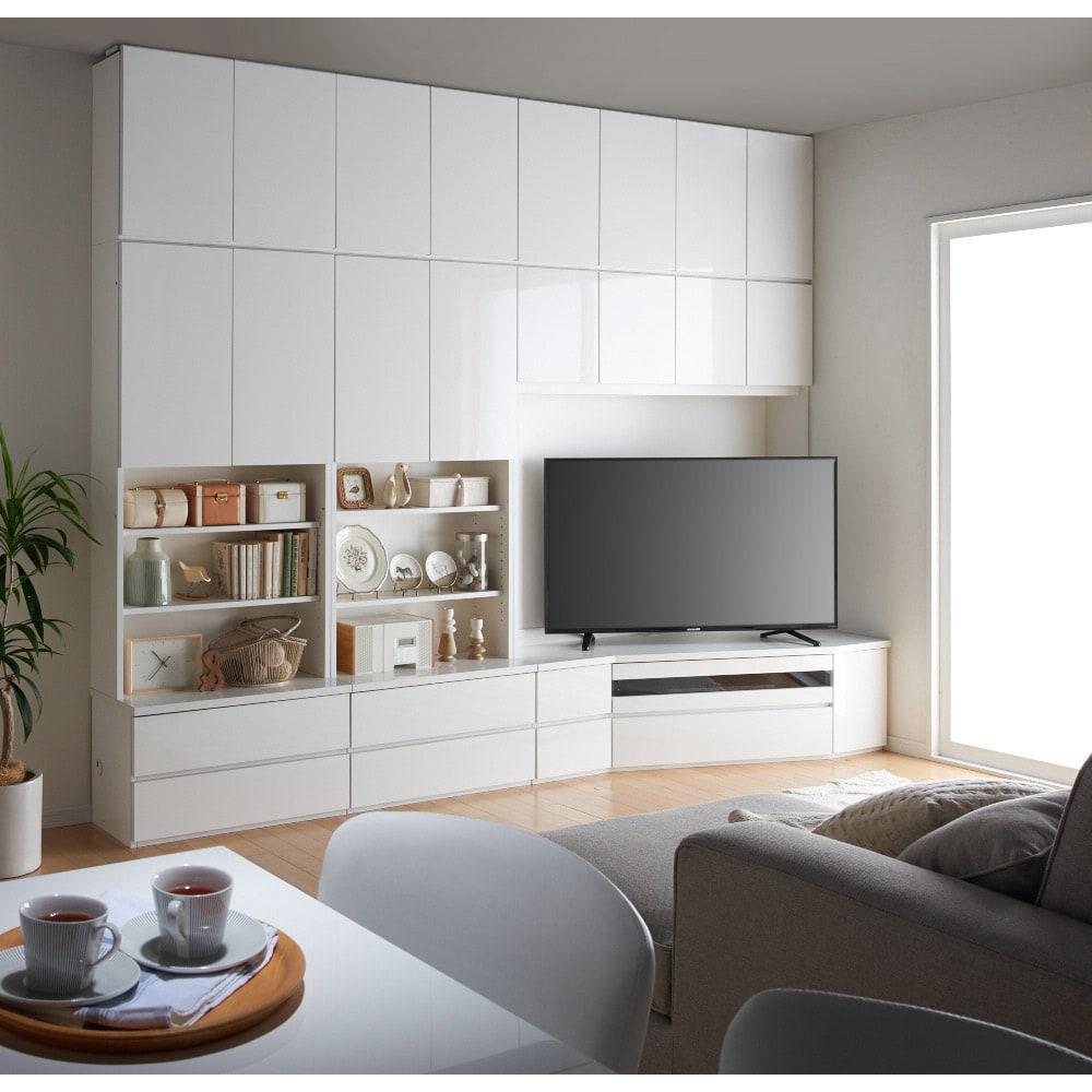 コーナーテレビ台壁面収納シリーズ 幅150cm TV台右壁設置用 コーディネート例 ダイニング目線(ア)ホワイト