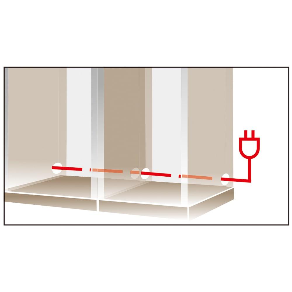 コーナーテレビ台壁面収納シリーズ 幅150cmTV台左壁設置用 コードスッキリ内部配線孔。アイテム間をつなぐ側面配線孔はコード類を露出させずコンセントへ。壁面にぴったり設置可能です。