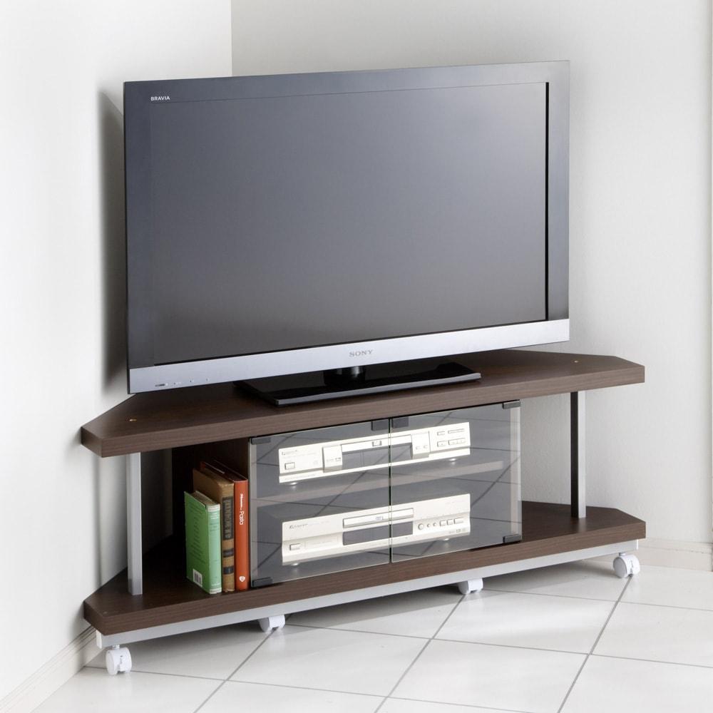 テレビ上の空間を有効活用できるシリーズ コーナー用テレビ台 幅120cm (ウ)ダークブラウン ※テレビは42インチ液晶テレビを載せています。