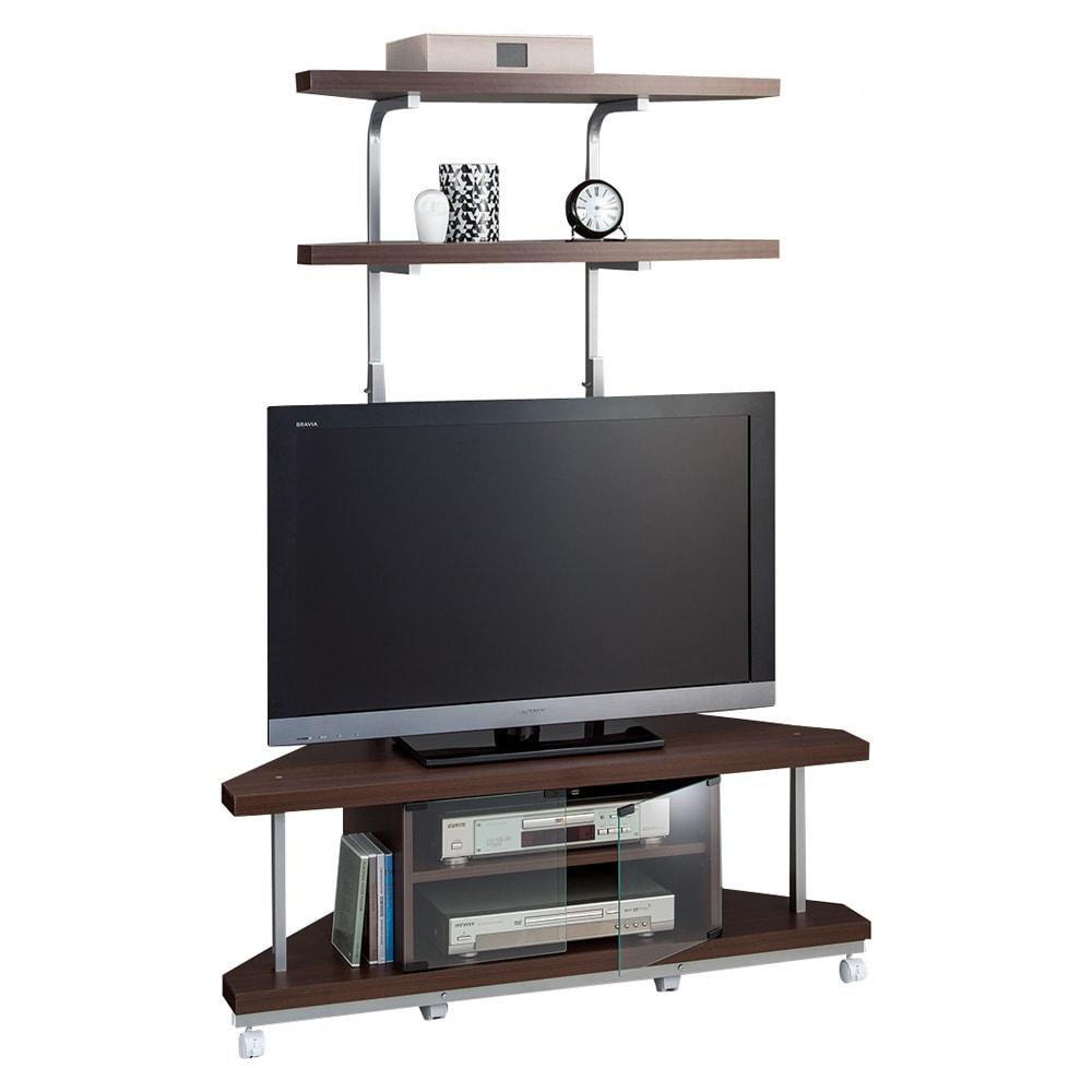 テレビ上の空間を有効活用できるシリーズ コーナー用テレビ台 幅120cm・棚2段 (ウ)ダークブラウン