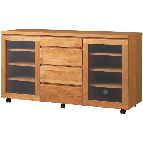 移動しやすいキャスター付きアルダー天然木 キャビネット収納・幅135.5cm キャスター付きなので、収納裏の掃除も簡単にできます。