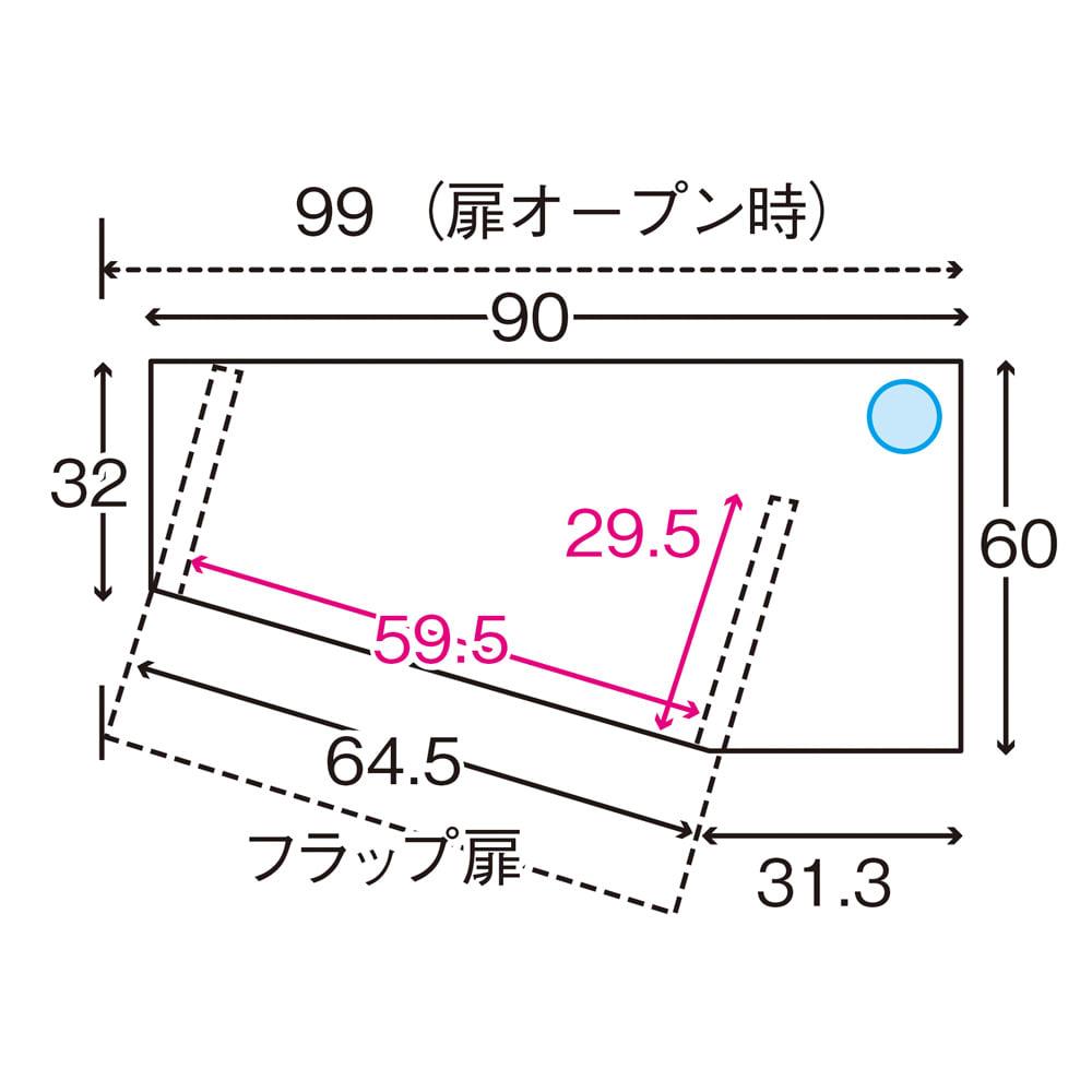 ソファダイニングから見やすいリビングボードシリーズ テレビ台 左コーナー用 平面図 ※赤文字は内寸(単位:cm)※青色部分はコード穴 ※デッキ収納部内寸高さ24cm ※左コーナー用は左右が逆の仕様です。