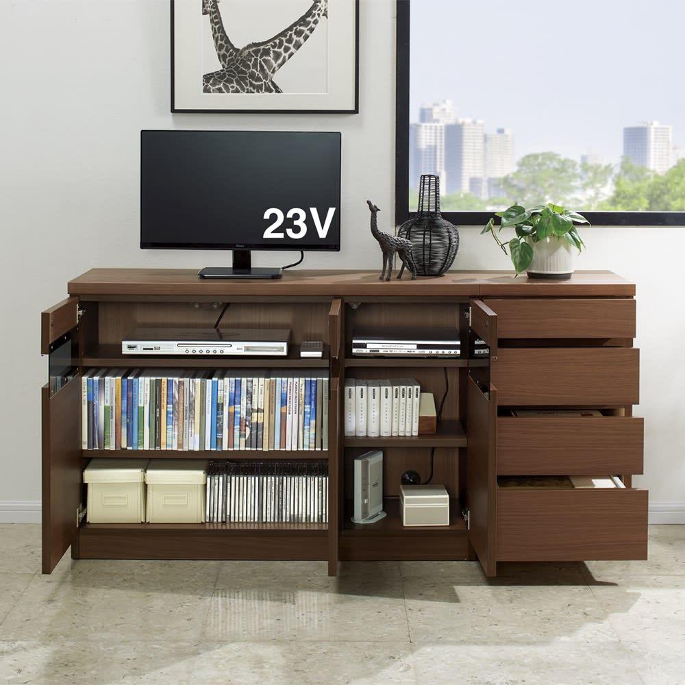 リビングギャラリーシリーズ テレビ台 幅70cm 色見本(イ)ダークブラウン テレビ台とチェストを組み合わせれば、充実のリビング収納に。