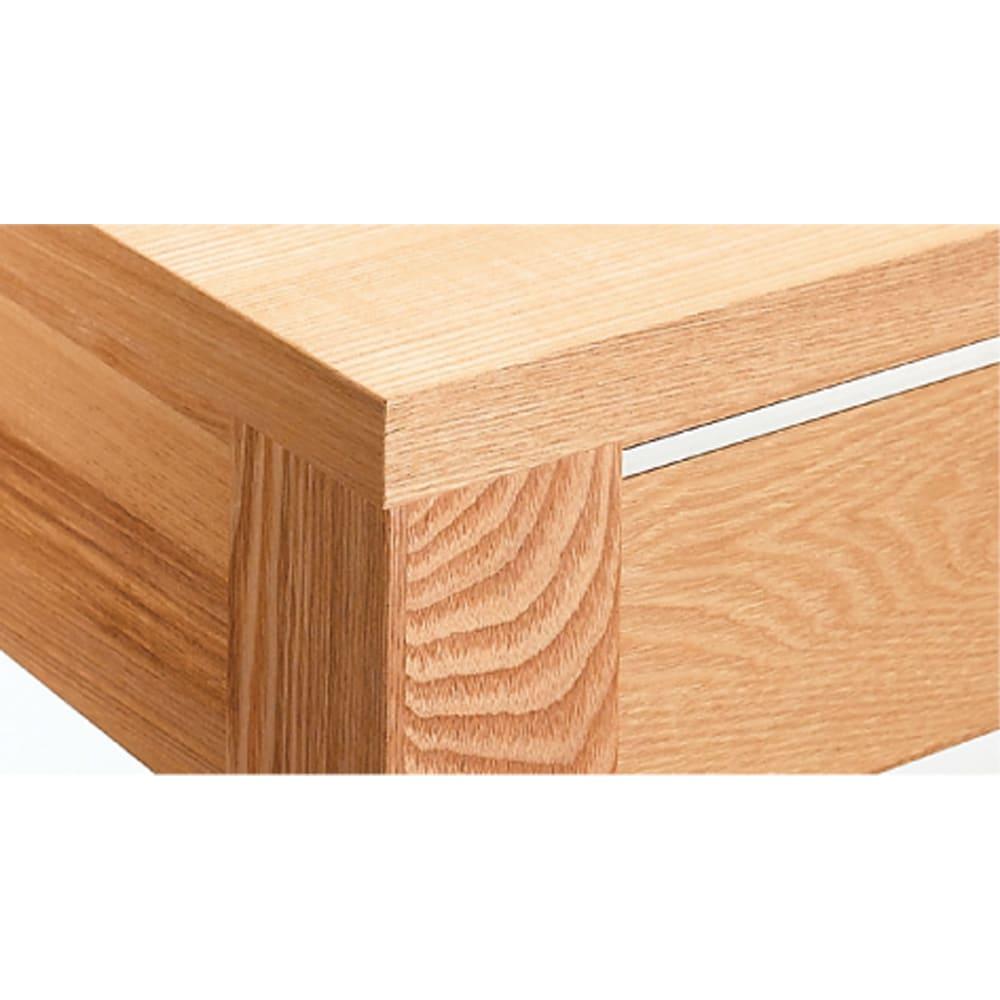 タモ天然木アルミライン薄型デスク 奥行45cm 幅100cm タモ材無垢材を贅沢に脚部に使用。表面材にも突板仕様で美しい仕上げに。