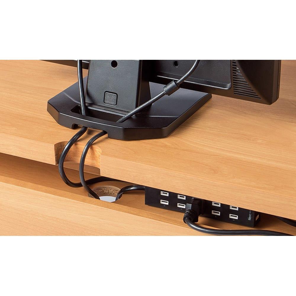 アルダー天然木 アールデザインデスクシリーズ デスク・幅160.5cm デスク天板の背面には配線等の収納スペース付き。