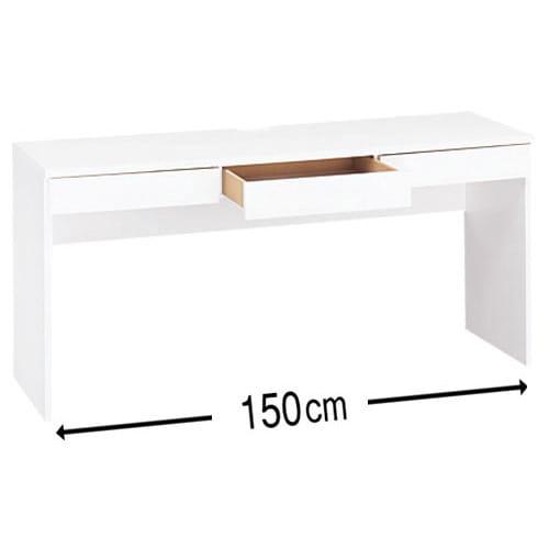 シンプルデスクシリーズ 薄型デスク 幅150cm (ア)ホワイト 天板中央奥には便利な2口コンセント(計1500W)付き。