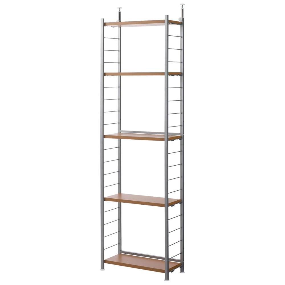 突っ張り式高さ調節シリーズ シェルフラック 幅60奥行30cm (ア)ナチュラル  棚板は全て可動式です。(10cmピッチ)