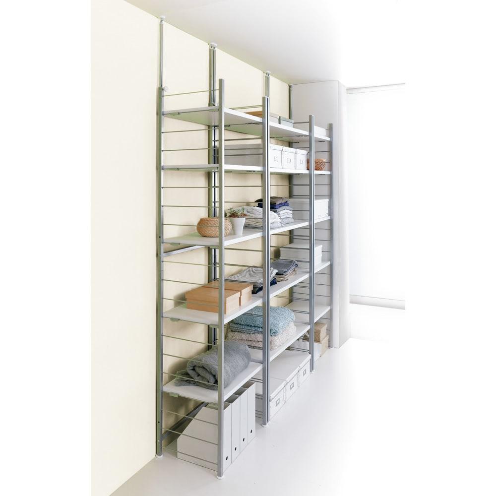 家具 収納 本棚 ラック シェルフ メタルラック スチールラック 突っ張り式高さ調節シリーズ シェルフラック 幅90奥行20cm 591504