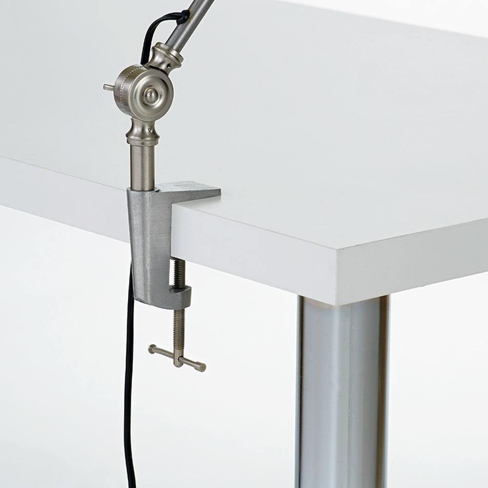 シンプルワークデスク 幅90奥行45cm デスク天板にクランプが取り付け可能(板厚3.5cm)。