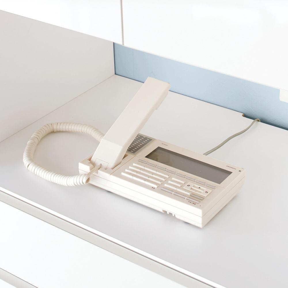 スイッチ避け壁面収納シリーズ スイッチよけタイプ(上台扉付き・下台引き出し)幅60cm奥行40cm 家電製品…中天板のカキコミを通して配線OK!電話も無理なく置けます。