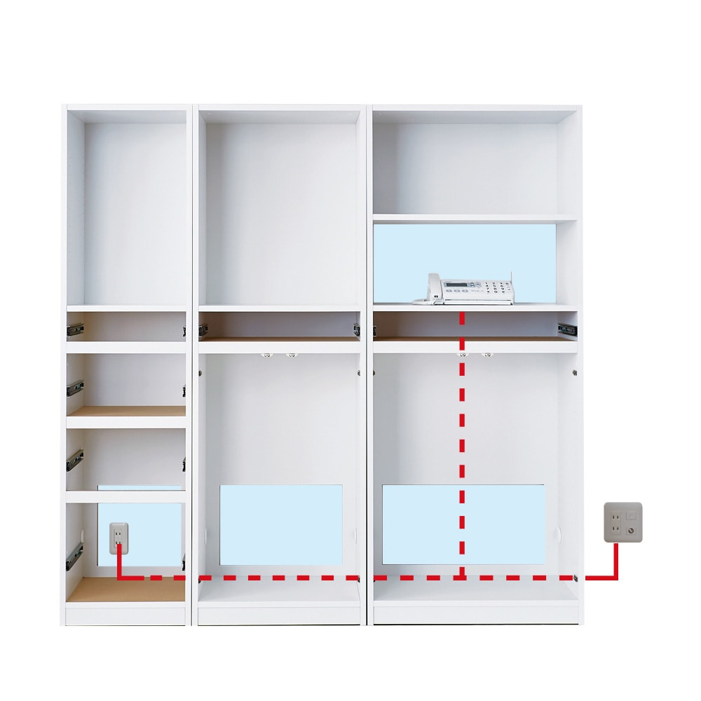 スイッチ避け壁面収納シリーズ 収納庫タイプ(上台オープン・下台引き出し・背板あり)幅60cm奥行30cm 散らかりがちなコード類も、本体すべての両側側面に配線用コード穴があるため、商品設置後にゆっくり配線を整えることができます。(点線は背板後ろを通ります。)